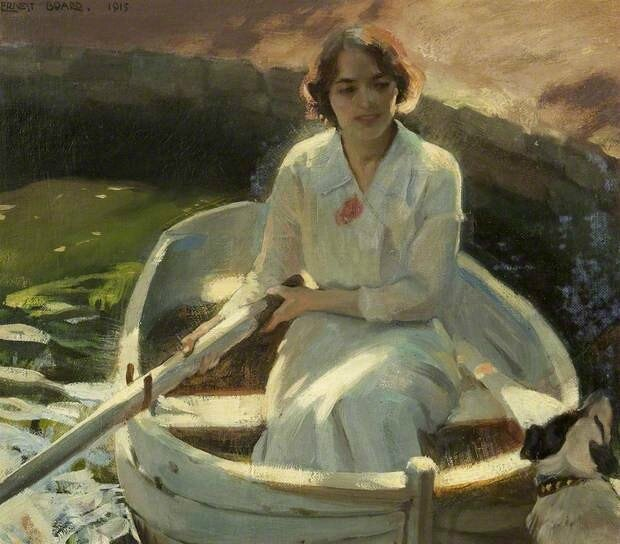 Ernest Board - Study of a Young Girl in a Rowing Boat with a Dog