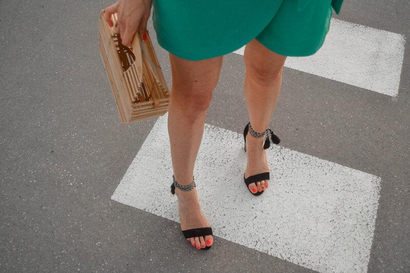 Mini jupe portefeuille vert d'eau - styliz (19)