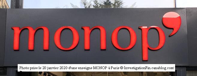 Photo enseigne Monop à Paris