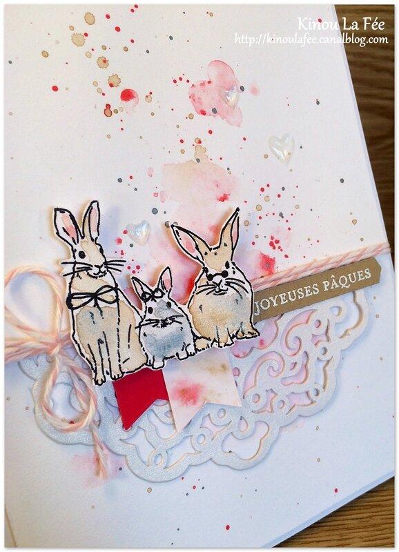 Carte Pâques Aquarelle lapin poussin 4
