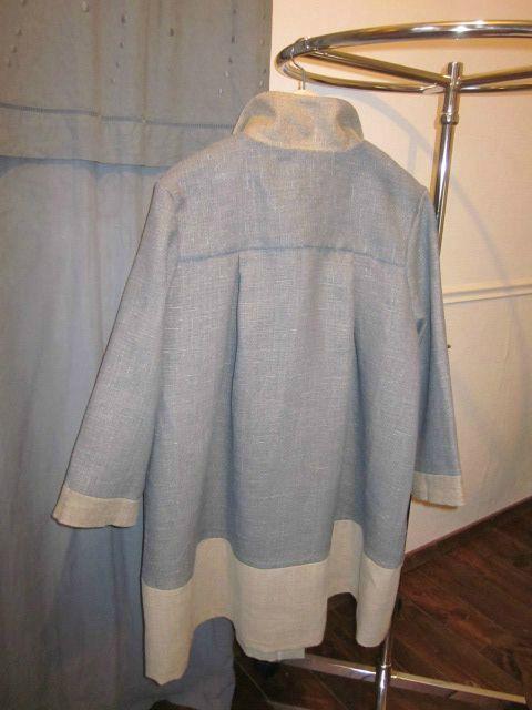 Manteau d'été bicolore en lin bleu fané et ficelle (6)