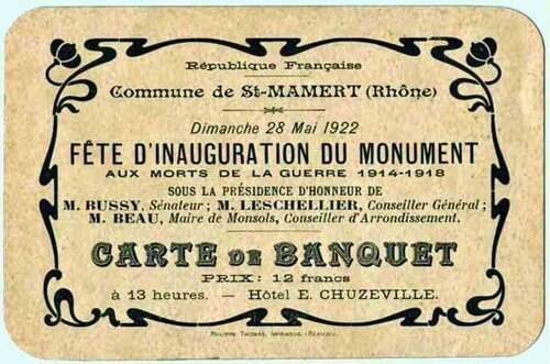 Carte invitation monument aux morts