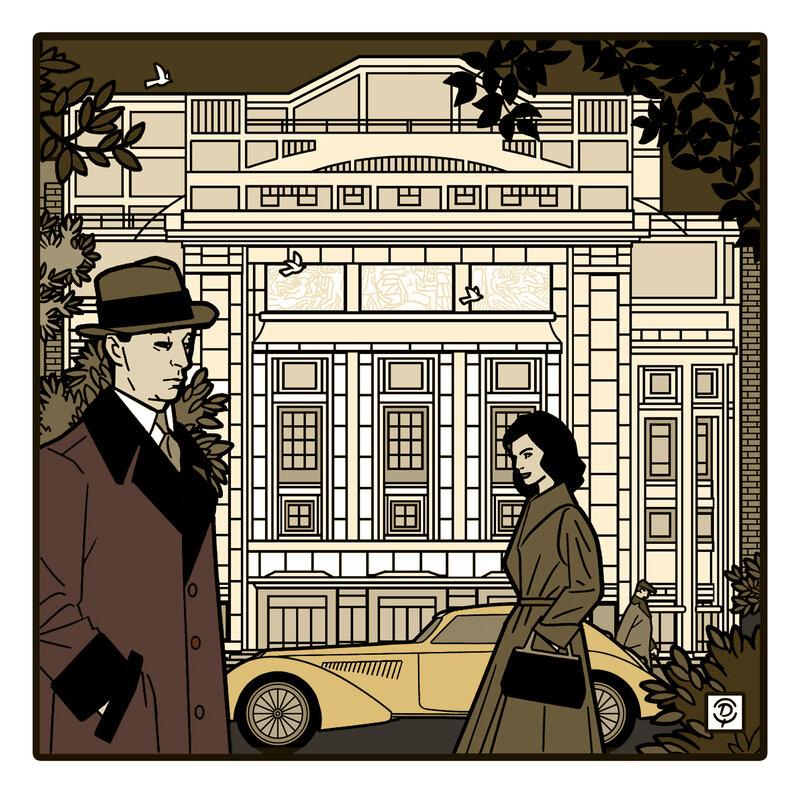 Louis JOUVET devant le Théâtre des Champs-Élysées Illustration originale bistre