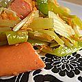 Poêlée de légumes à la sauce soja et aux knackis