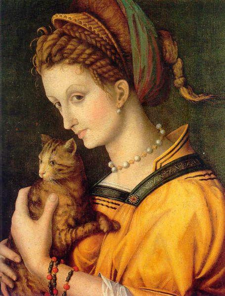 bacchiacca portrait de jeune femme tenant un chat 1525