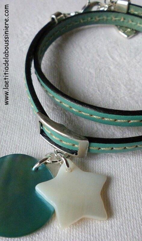 Bracelet cuir double tour (turquoise clair) avec une étoile en nacre et une médaille en nacre
