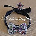 Bracelet élastique noir avec noeud Eloise Prune - 18 euros