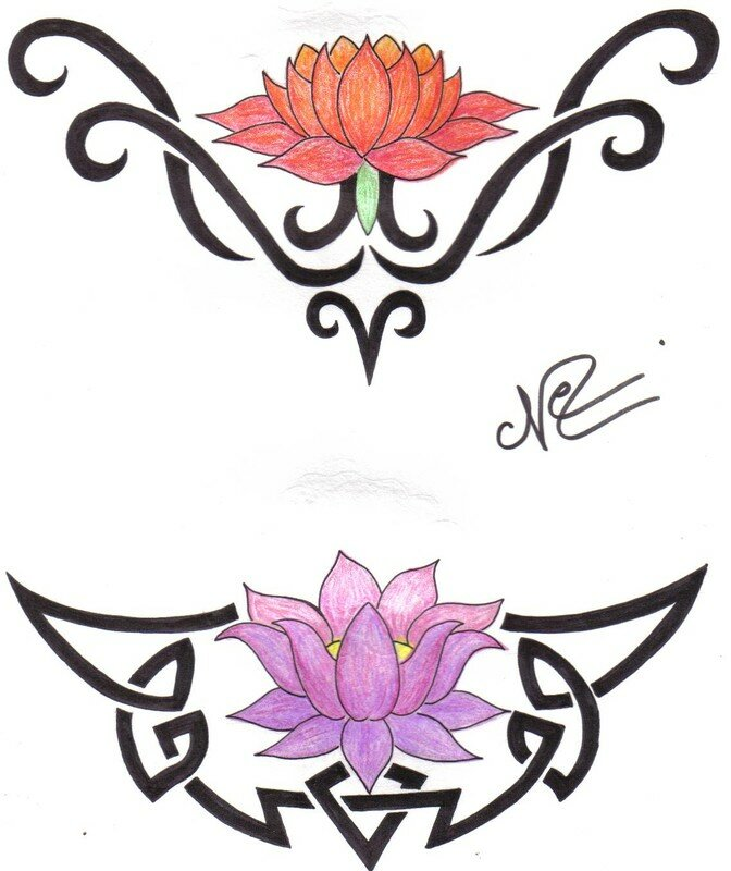 Dessin Tribal Fleur lotus + tribal - photo de dessins de tatoo - le paradis de nefff