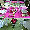 Ma table de pâques en rose fuchsia et vert, pleine de peps