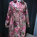 Ciré AGLAE en coton enduit imprimé bouquet fleuri rose - Fermé par un noeud (2)