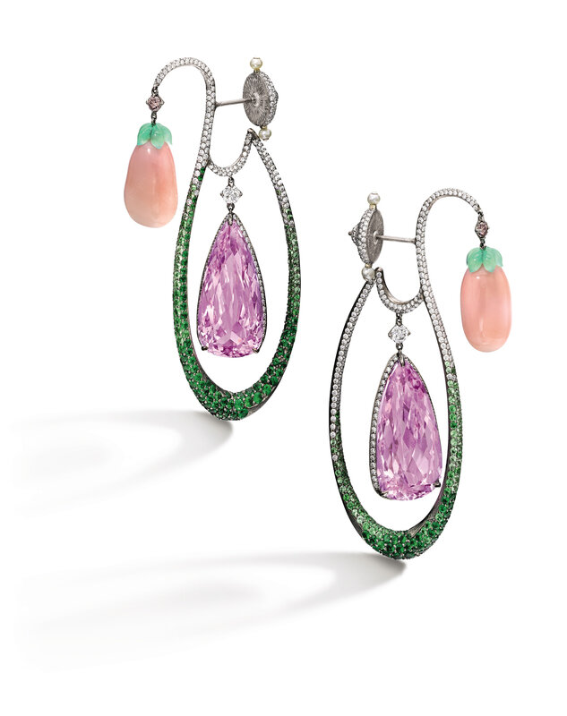 Lot1738_Wallace Chan_Pair of Conch Pearl, Gem Set and Diamond Pendent Earrings_039LHK0817