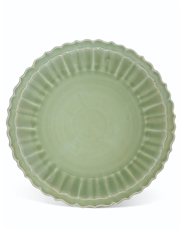 A large Longquan celadon barbed dish, Ming dynasty, 14th-15th century
