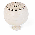A rare reticulated white-glazed incense burner and cover, Circa 11th-12th century