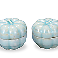 A pair of small qingbai 'melon' boxes and covers, southern song dynasty, 1127-1279