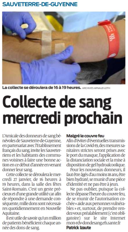 2021 01 23 SO Sauveterre de guyenne Collecte de sang mercredi prochain