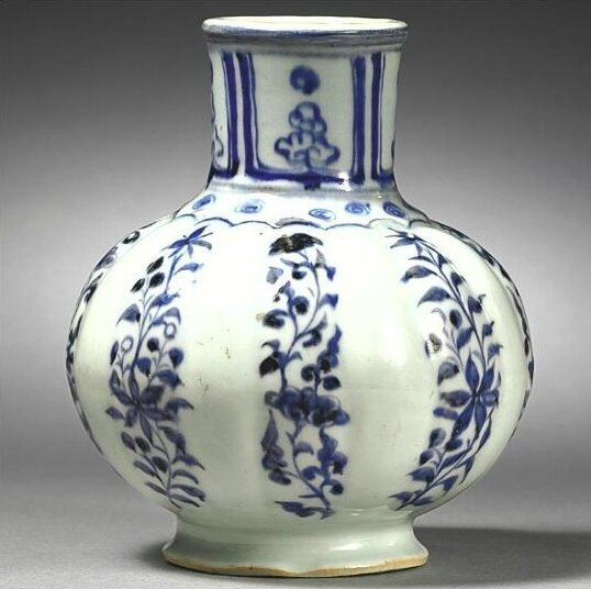 A blue and white lobed waterpot, Yuan dynasty (1271-1368)