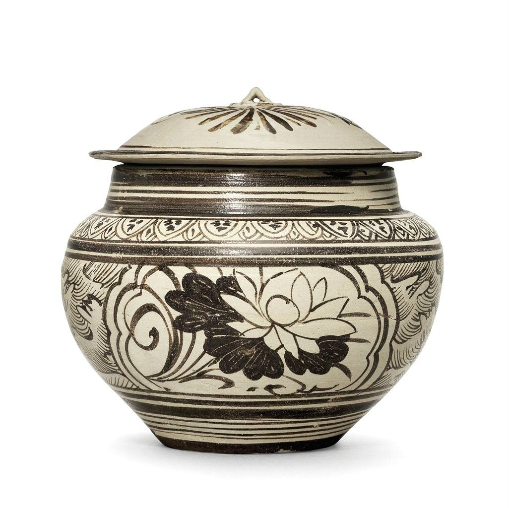 A Jizhou painted 'floral' jar and cover, Southern Song dynasty (1127-1279)