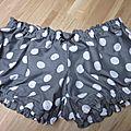 Culotte BIANCA en coton gris à gros pois blancs noeud noir et blanc (2)