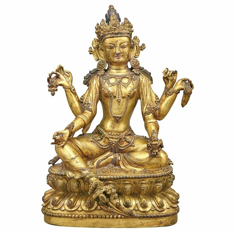 Sino-Tibetan Gilt-Bronze Seated Avalokesvara1