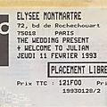 The wedding present - jeudi 11 février 1993 - elysée montmartre (paris)