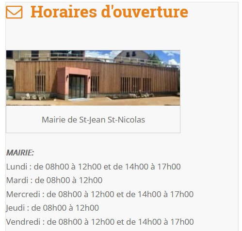 horaire mairie