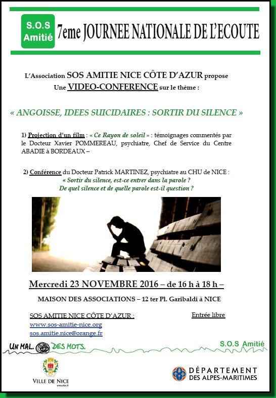 """VIDEO-CONFERENCE ASSOCIATION SOS AMITIE """" Angoisses, Idées Suicidaires : sortir du Silence """""""