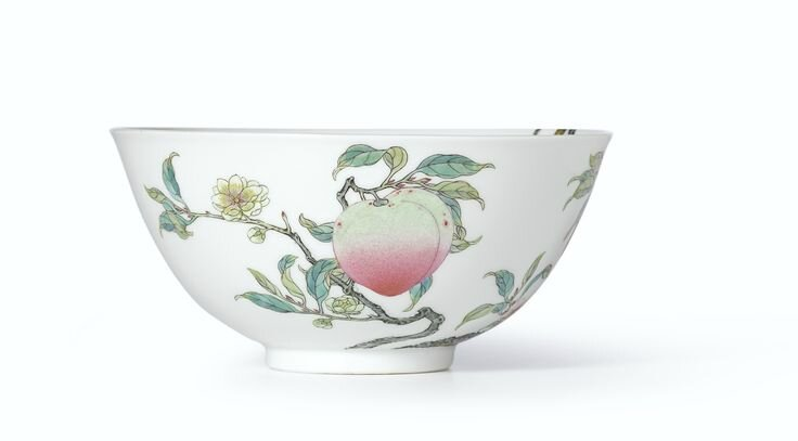 An extremely rare and superbly enamelled pair of Famille-Rose 'Peach' bowls, Marks and period of Yongzheng (1)
