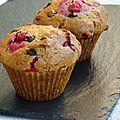 Muffins groseilles / chocolat / matcha allégés