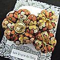 ♥ nolene ♥ broche textile bohème fleurs potirons marron or - les yoyos de calie