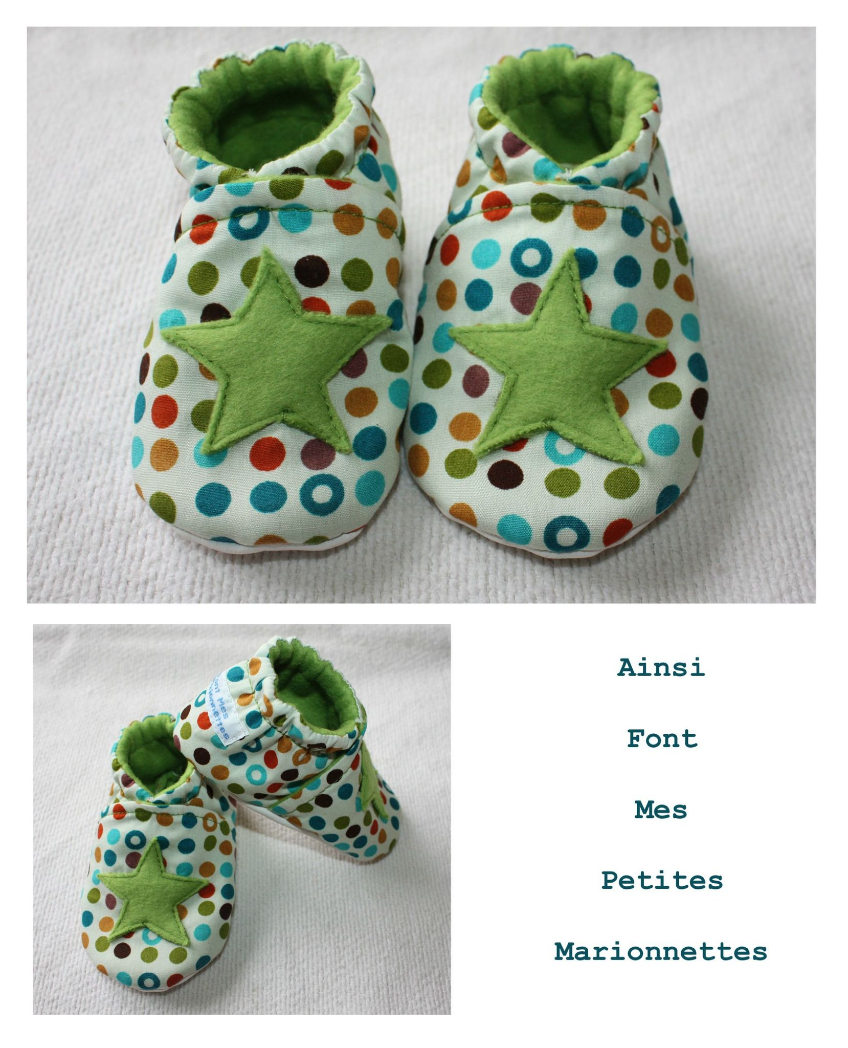 chaussons etoile pois