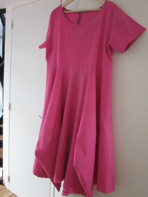Robe EULALIE en lin rose tyrien - taille 50 (3)