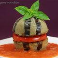 Sphères d'aubergines confites et vinaigrette de tomates