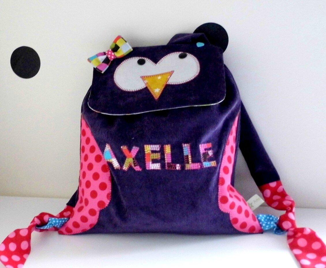 Sac à dos hibou violet Axelle
