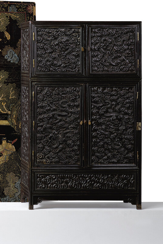 A 'Zitan' and hardwood tabletop cabinet, Qing dynasty, 19th century