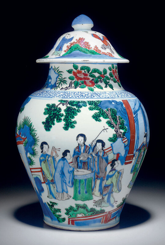A wucaibaluster jar and cover, Transitional period, circa 1650