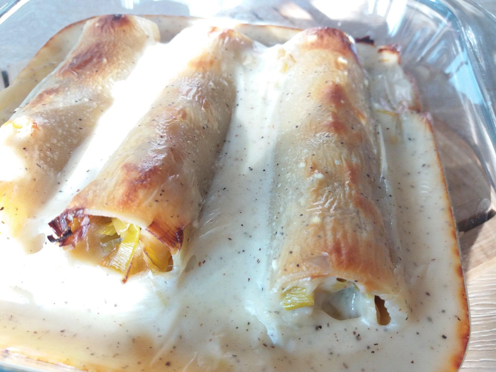Déclinaison végétarienne de cannelloni avec poireau et comté