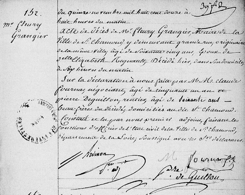décès Fleury Grangier laire 14 nov 1812