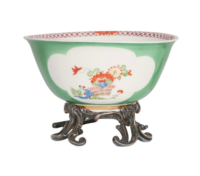 A very rare bowl with kakiemon-decor and silver mount, Meissen, around 1730