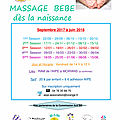 Massage bébé : reprise le 22 septembre