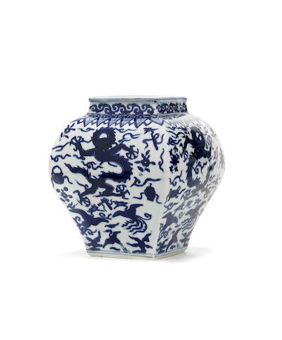 A rare blue and white square 'dragon' vase, Wanli six-character mark and of the period
