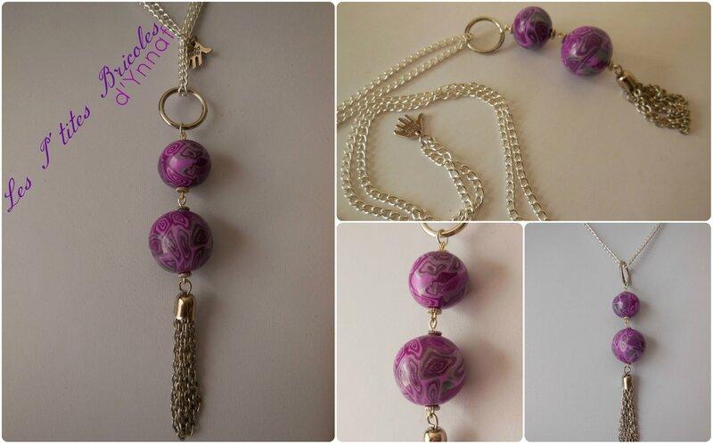 sautoir long purple & pink