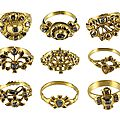 Nine diamond rings from a convent, spanish, late 17th–18th century