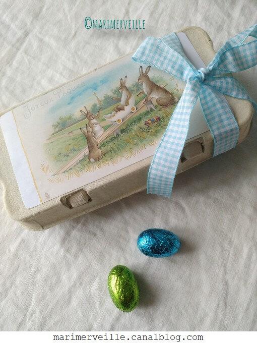boîte oeufs en chocolat - lapins de pâques - marimerveille