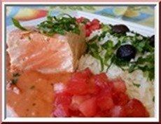 saumon cuisson gros sel, duo de tomates