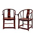 A pair of zitan horseshoe-back armchairs, 17th-18th century