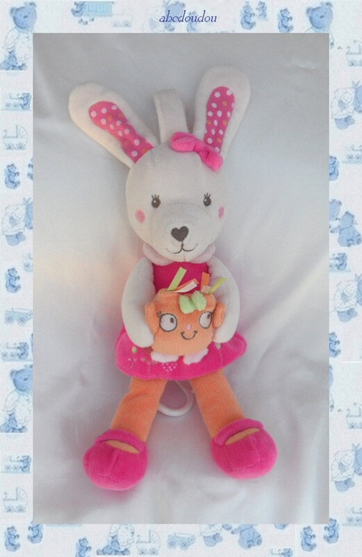 Doudou Peluche Lapin Musical Rose et Orange ChouetteTex Baby