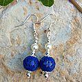boucles d oreilles perles métal bleues
