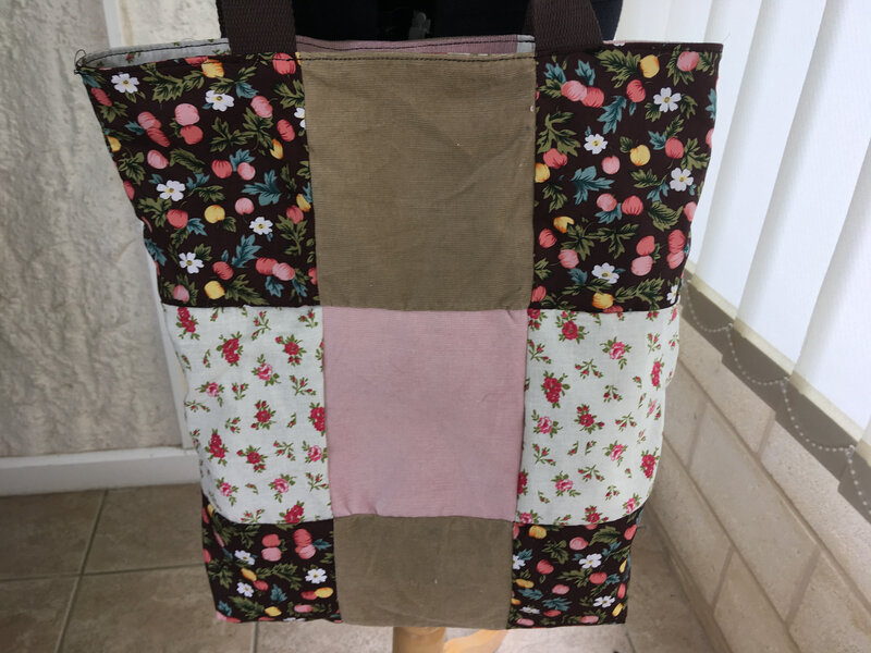 tote bag reversible patchwork tons brun rose modele funky sunday 4