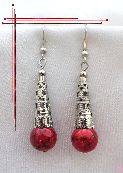 Boucles d'Oreilles Style Tibétain Tyee Perle Corail Rouge Argent du Tibet