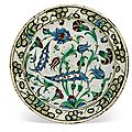 An iznik pottery dish, ottoman turkey, 17th century